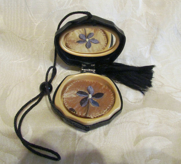 1920s Celluloid Compact Purse Art Deco Wristlet Purse Rare Flapper Rhinestone Compact In Excellent Condition