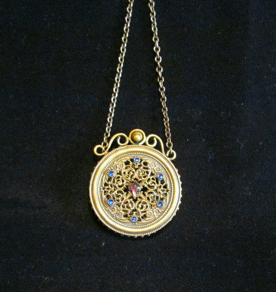 Antique Jeweled Ormolu Vinaigrette 1800s Scent Sachet Chatelaine Compact Extremely Rare