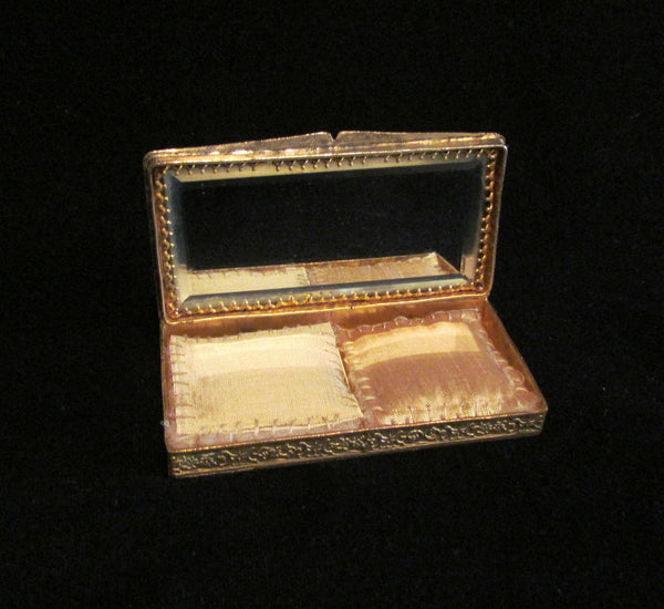 1800s French Portrait & Jewel Gold Ormolu Compact Antique 19th Century Excellent Condition