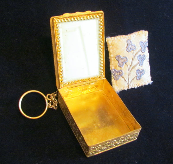 1800s French Gold Ormolu Compact Purse Enamel Guilloche And Pearl Finger Ring Excellent Condition