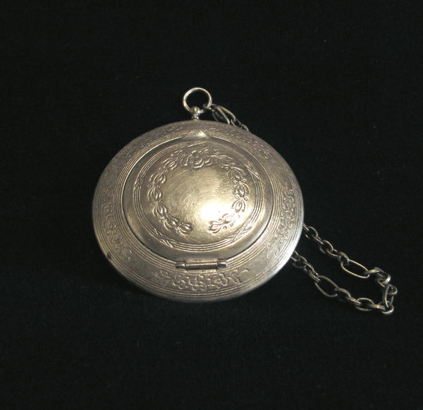 Antique German Silver Compact Wristlet Purse Victorian Mirror Compact With Down Feather Powder Puff