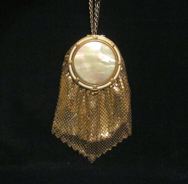 Evans Gold Mesh Mother Of Pearl Compact Purse 1930s Rare Bridal Wedding Bag