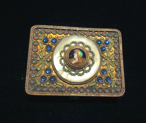 19th Century French Jeweled Portrait Cigarette Case Extremely Rare Cigarette Box