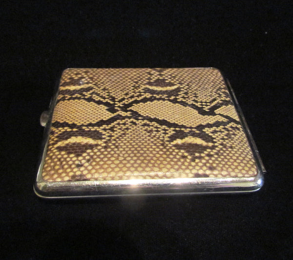 1930s Butterfly Wing And Snake Skin Cigarette Case Tropical Theme Excellent Condition