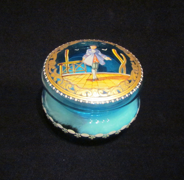 Antique French Powder Jar 1900s Hand Painted Cobalt Blue Powder Box Ormolu Accents Mint Condition