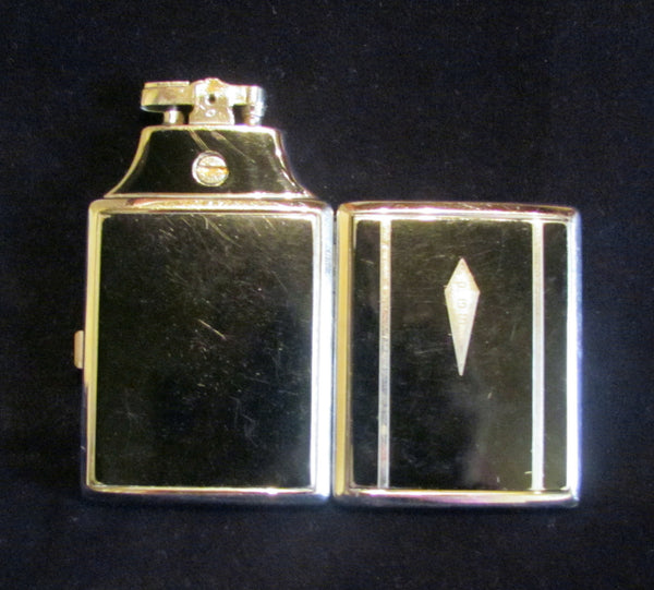 Ronson Master Case Lighter Black Enamel Vintage Cigarette Case Working Condition