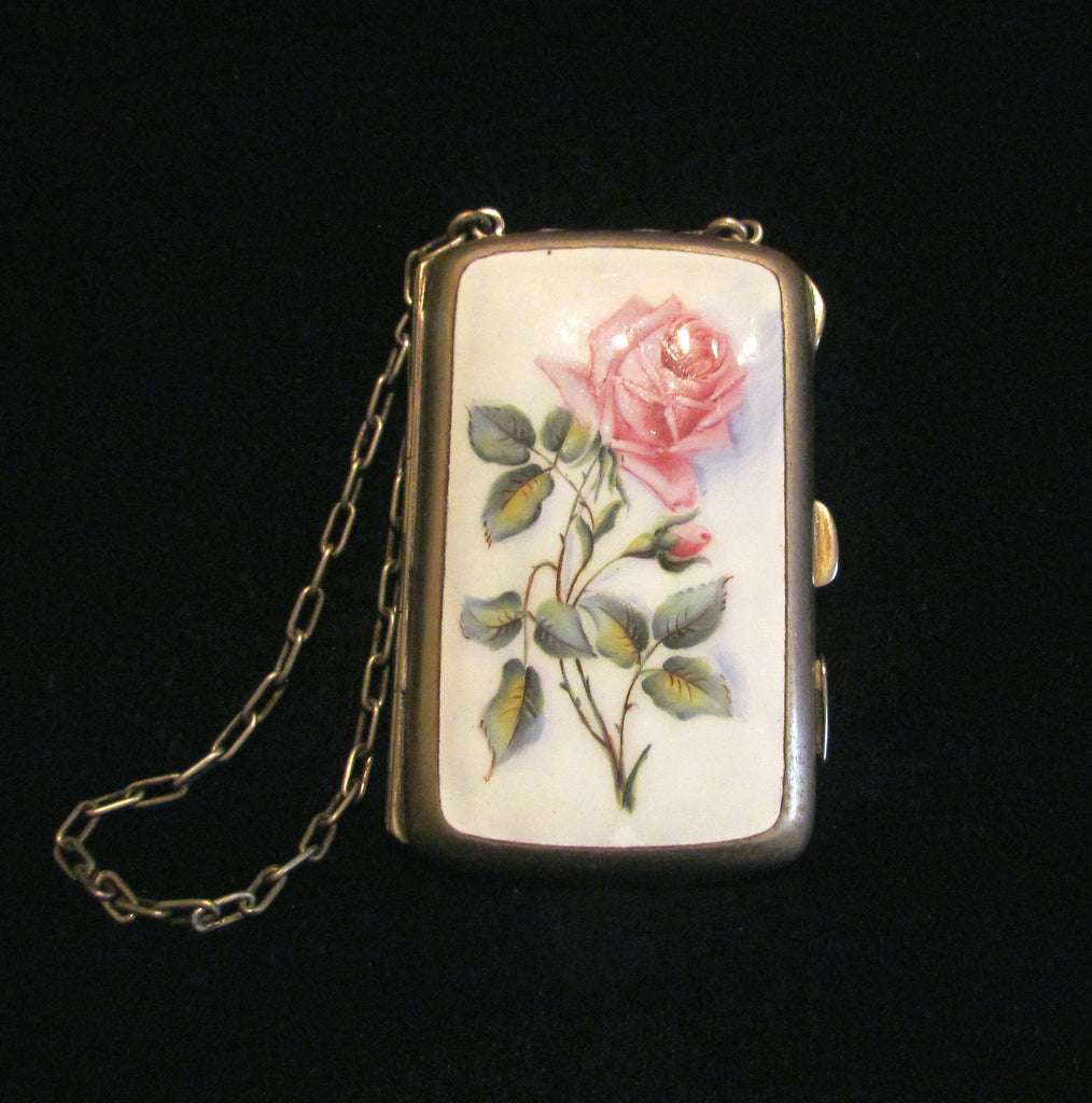 Victorian Floral Enamel Dance Purse EP Silver Compact Card Case Early 1900's