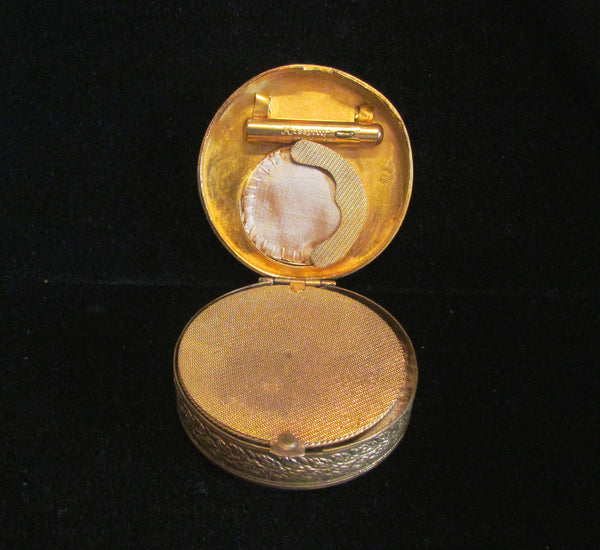 Gold French Compact Mother Of Pearl Blue Stones 1800s Antique Powder Rouge Compact RARE