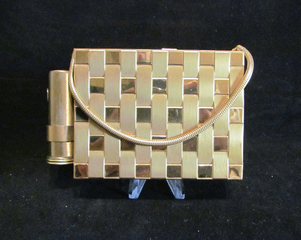 1950s Gold Basket Weave Compact Purse With Lipstick