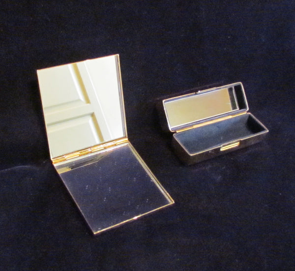 Bridal Double Mirror Lipstick Compact Matching Wedding Compacts Peach Enamel & Jewels