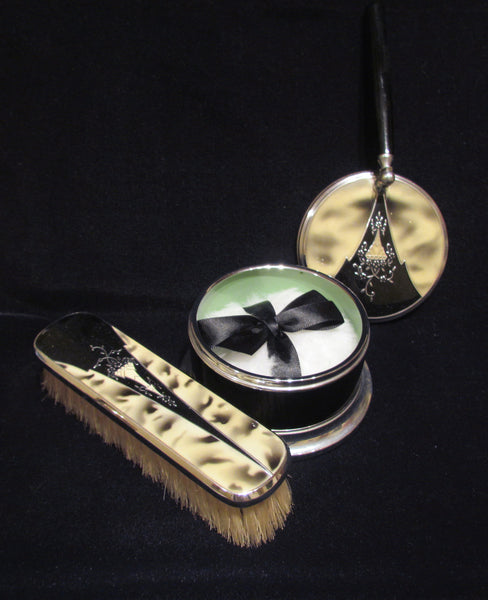 1930's Powder Box And Brush Set Art Deco Vanity Set Powder Jar And Clothing Brush Dresser Set