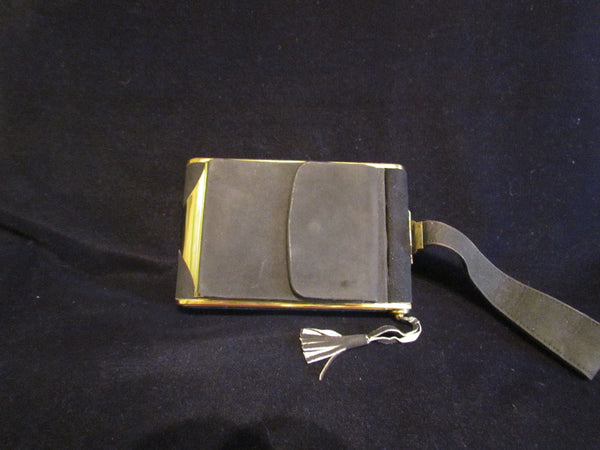 French Lucien Lelong Suede Compact Purse Art Deco 1940s Nail Care Makeup Travel Kit