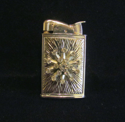 Evans Rhinestone Lighter Ladies Pocket Lighter Silver Starburst Vintage Working Lighter