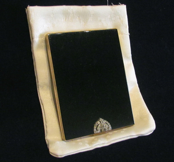 Volupte Black Enamel Cigarette Case 1940's Rhinestone Business Card Case Credit Card Holder