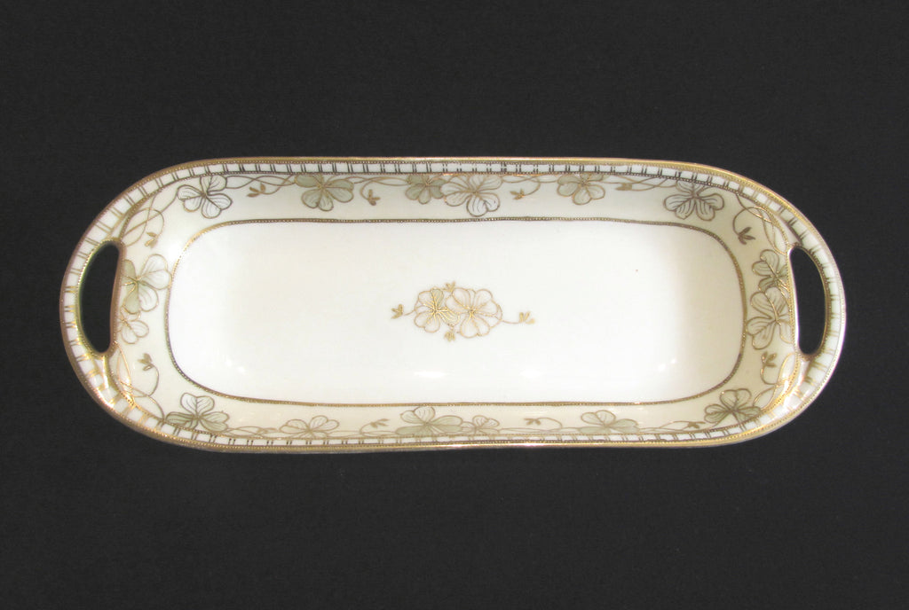 Nippon Moriage Celery Dish Hand Painted Floral Porcelain Relish Tray Circa 1911 to 1921