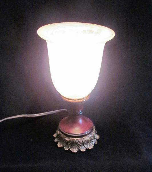Vintage Style Table Lamp Wooden Base Frosted Glass Shade Working