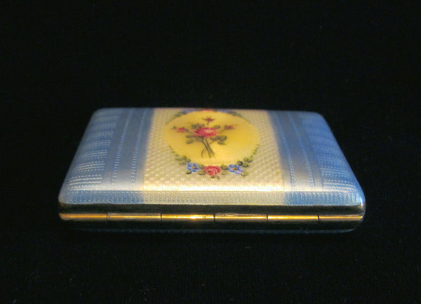 1930s Guilloche Cigarette Case Gold Plated LaMode Floral Ladies Card Case