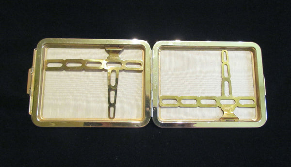 Black Leather Cigarette Case Gold Plated 1948 Rogers Lin Bren Cigarette Case Business Card Case Credit Card Holder