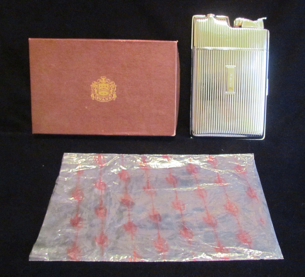 Silver Evans Cigarette Case Lighter Art Deco Boxed Working Case Lighter