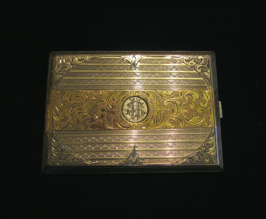 1930\'s Sterling Silver Cigarette Case 24Kt Gold Inlay German ...