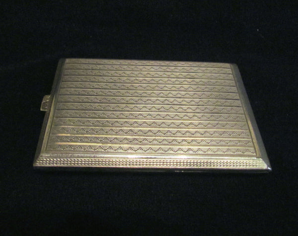1930's Sterling Silver Cigarette Case 24Kt Gold Inlay German Business Card Case Credit Card Holder