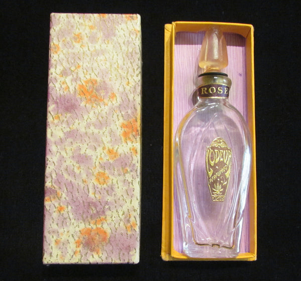 Vintage Perfume Bottle 1920s Rose L'Odeur Perfumes Bottle Art Deco In Original Box Excellent Condition