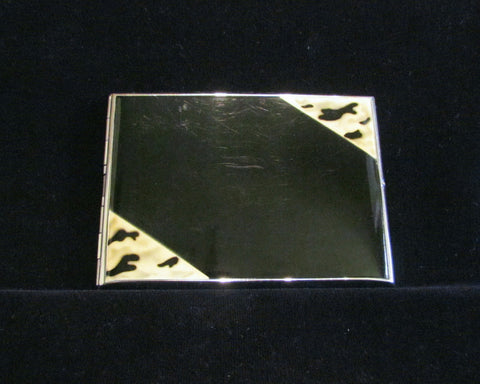 1930s Enamel Cigarette Case Golden Wheel Business Card Case Credit Card Holder Nickel Silver