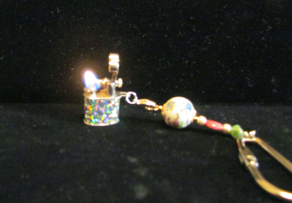 Vintage Lift Arm Lighter Keychain OOAK Handmade Key Chain Detachable Working Lighter
