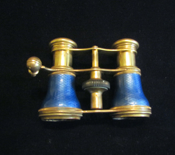 Antique Guilloche Opera Glasses 1800s Theater Glasses Rare Blue Enamel Binoculars