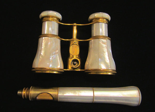 LeMaire Fi Opera Glasses 1800s Paris Mother Of Pearl Theater Glasses MOP Binoculars Mint Condition