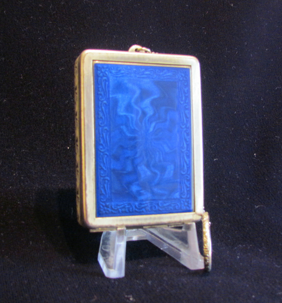 Karess Woodworth Guilloche Compact Purse Cobalt Blue Enamel Rare