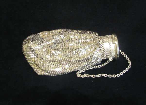 Whiting Davis Silver Mesh Gate Top Purse Vintage Beggars Bag Wedding Purse Accordion Bridal Bag Art Deco Evening Bag