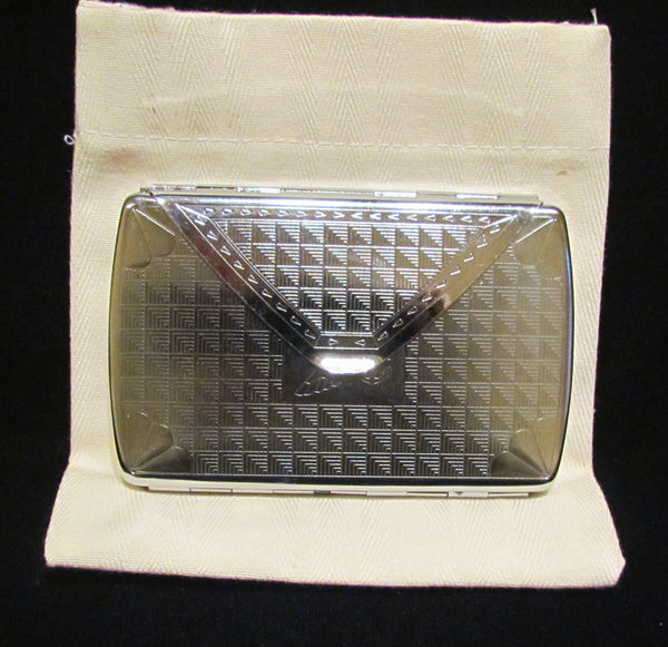 Silver Compact Purse Envelope Mirrored Card Case Fits 100's Cigarettes Business or Credit Cards Excellent Condition