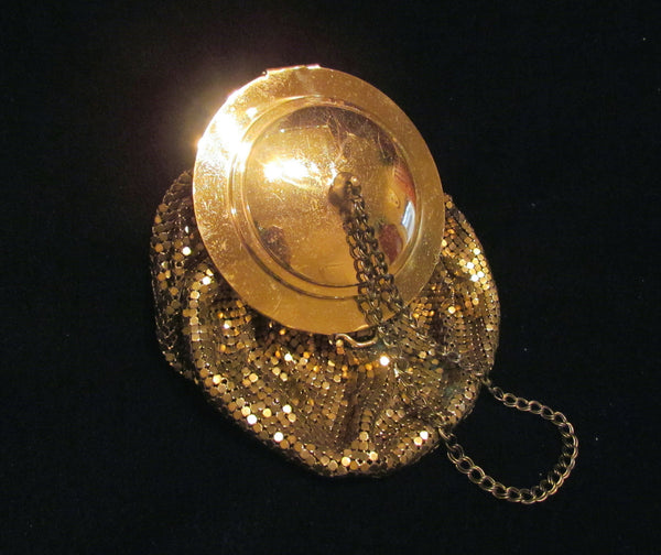 1930s Gold Mesh Compact Wristlet Purse Mirror Lid Wedding Purse Bridal Bag