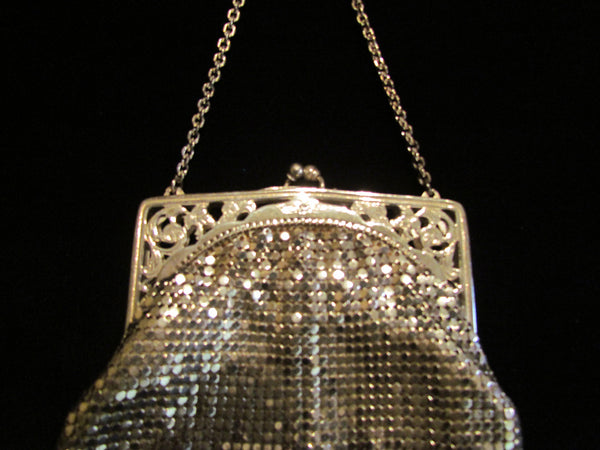 Vintage Whiting Davis Silver Mesh Purse Evening Bag Excellent Condition