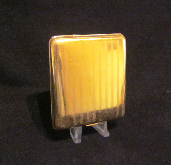 1930s Guilloche Cigarette Case Gold Plated LaMode Card Case Art Deco