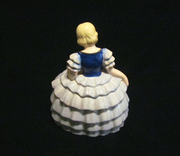 Victorian Porcelain Powder Jar Victorian Figural Lady Powder Box Occupied Japan