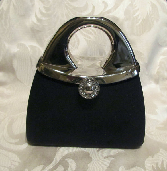 1950s Silver And Black Moire Cluch Purse With Rhinestone Clasp Shoulder Evening Bag