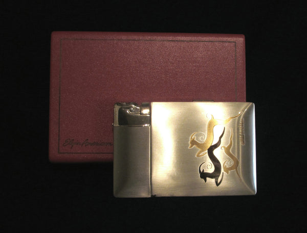 1940's Lite-O-Matic Gazelle Cigarette Case Elgin American Original Box Stunning Working Case Lighter
