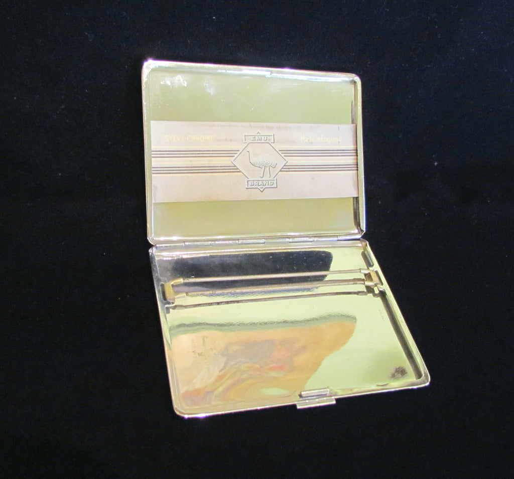 EMU Chrome Cigarette Case Art Deco Business Card Case Credit Card ...