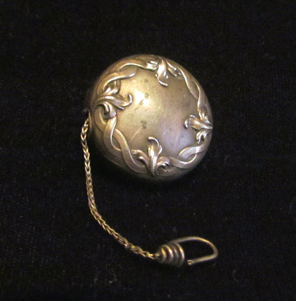 Victorian Ketcham & McDougall Sterling Silver Retractable Chain Eyeglass Holder Button Brooch or Pin