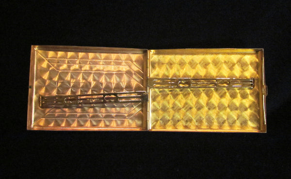 Golden Wheel Cigarette Case 1940's Holographic Business Card Case Credit Card Holder