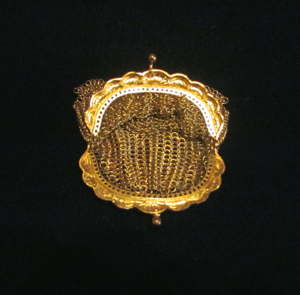 Antique Gold Mesh Purse Chainmail Clutch Change Coin Purse