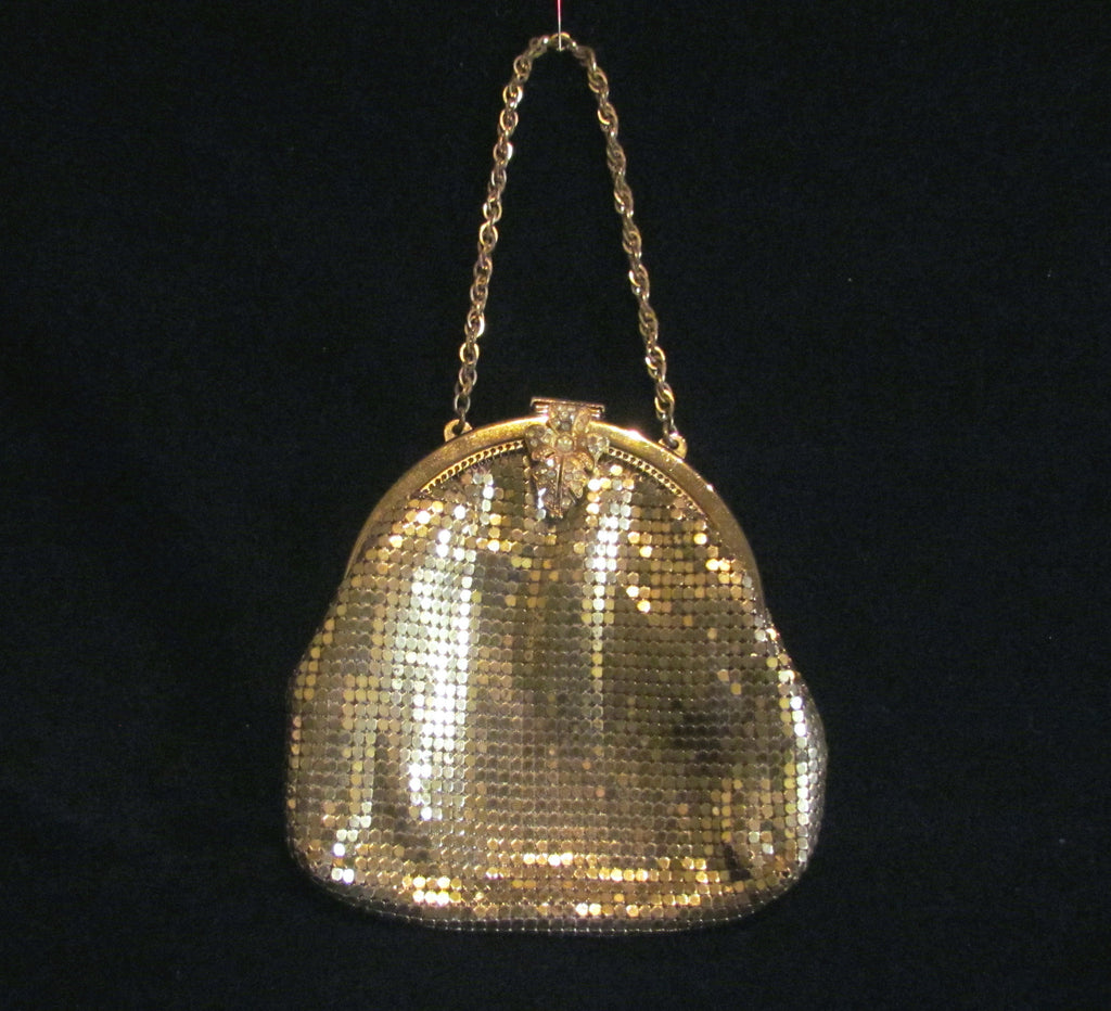 Gold Mesh Rhinestone Purse 1930s Formal Evening Purse Bridal Bag Unused