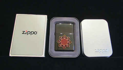 Vintage Zippo Bronze Lighter USA Sealed Unused Pocket Lighter In Original Metal Case Red Enamel Accents Unique