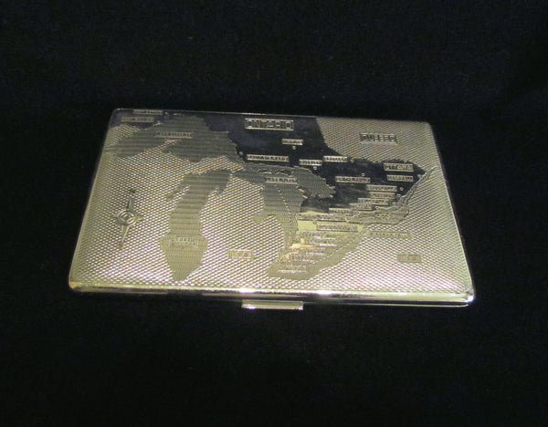 1940s Cigarette Case Ontario Canada Map Har-Bro England Business Card Credit Card Holder Wallet EXCELLENT CONDITION