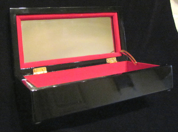 Red And Black Lacquer Jewelry Box Asian Enamel Mother Of Pearl Inlay Vanity Box Trinket Box