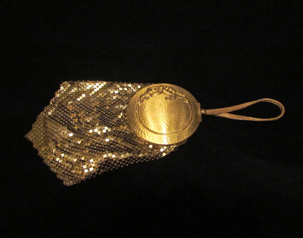 Whiting Davis Mesh Compact Purse 1930s Gold Mesh Mirror Handbag