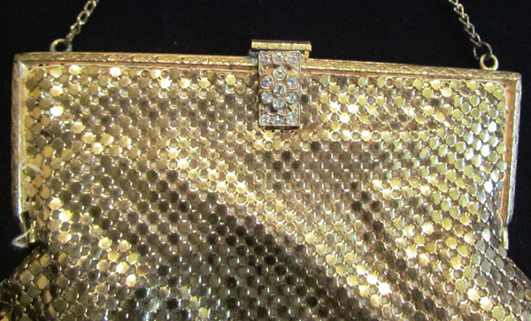1930s Gold Mesh Purse Rhinestone Clasp Formal Purse Wedding Bridal Bag