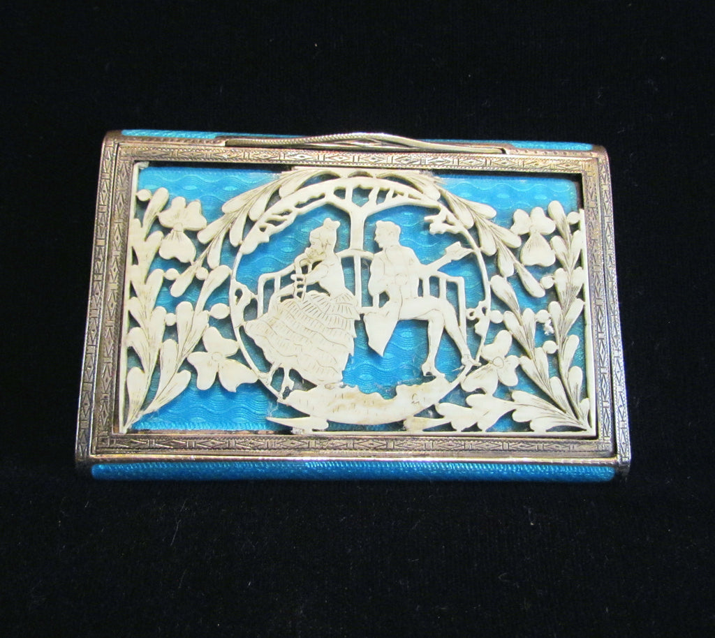 Early 1900s Sterling Silver Guilloche Compact Vanity Case Cigarette Case Victorian Courting Scene